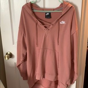 Nike Rose Pink Lace-Up Hoodie - Barely Worn!